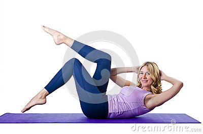 Female sportsman doing exercises