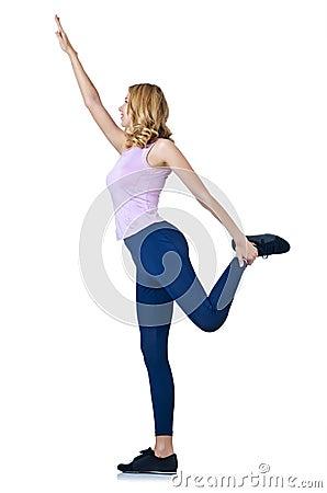 Female sportsman doing exercises