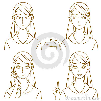Free Female Staff Guide Phone Suggest Expressions Set Royalty Free Stock Photography - 37568077