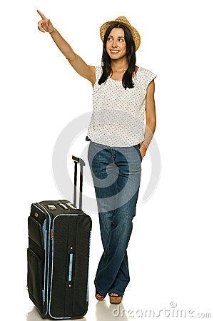 Female standing with suitcase pointing to side