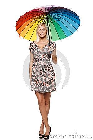 Female standing under umbrella