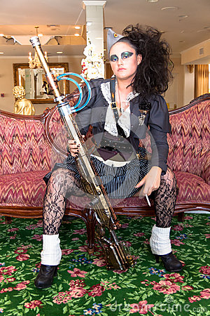 Female Steampunk weapons handler Editorial Stock Photo