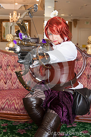 Female Steampunk weapons specialist Editorial Photography