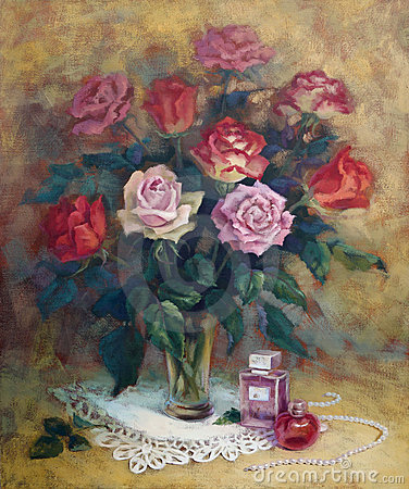 A female still-life with roses