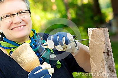 Female stonemason