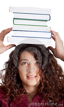 Female student balancing books