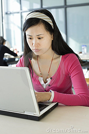 A female student and computer