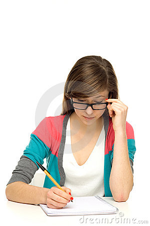 Female student doing homework