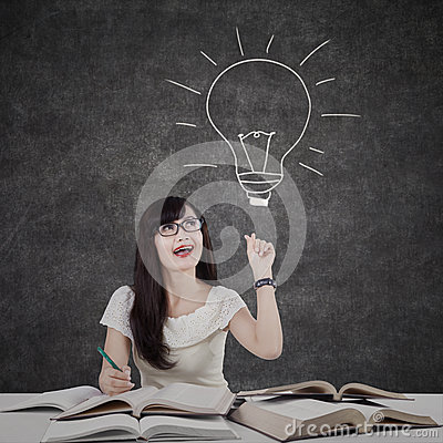 Free Female Student Getting Bright Solution 2 Stock Image - 42674951