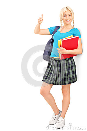 Female student giving a thumb up