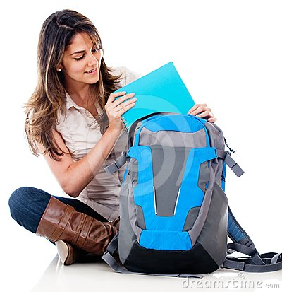 Female student with her bag