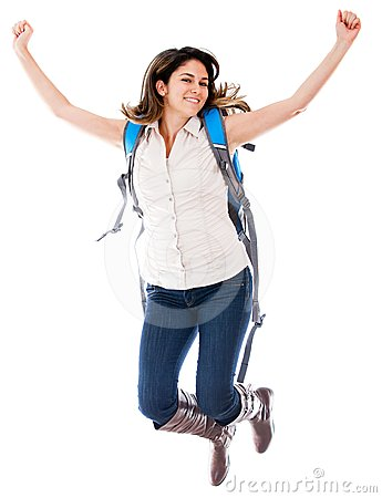 Female student jumping