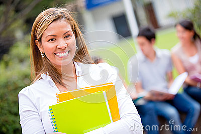 Female student looking happy