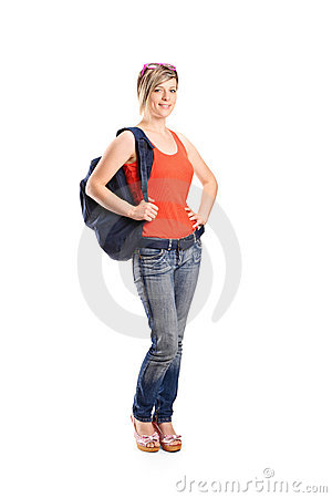 Female student with school bag
