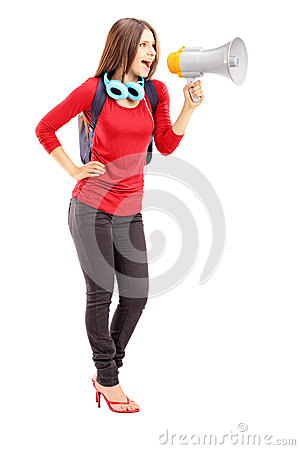 Female student shouting via megaphone