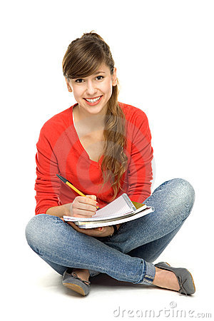 Female student sitting