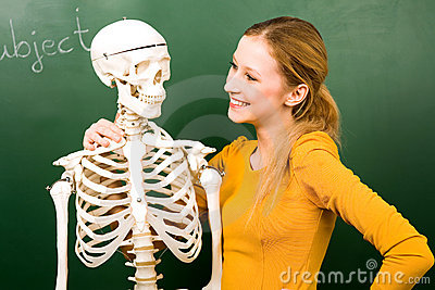 Female student with skeleton