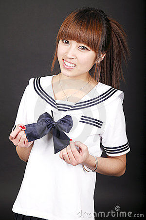 Female student smile.