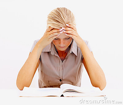 Female student studying isolated over white