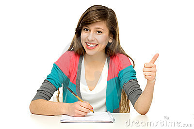 Female student with thumbs up