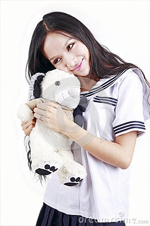 Female student & toy dog