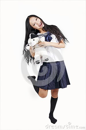 Female student with toy dog