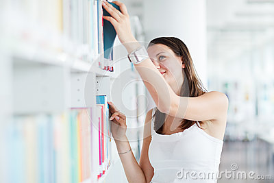 Female  student  in the university library