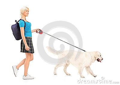 Female student walking a dog