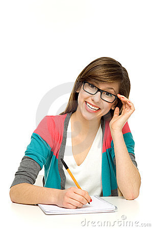 Female student writing