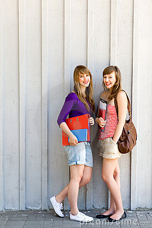 Free Female Students With Books Stock Photography - 15562982