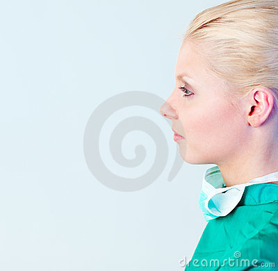 Female Surgeon with her mask off