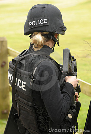 Female police SWAT marksman Editorial Stock Image