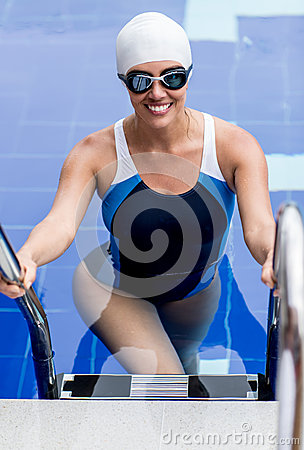 Female swimmer in a pool