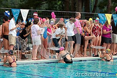 Female Swimmers Prepare To Start Backstroke Race Editorial Photo
