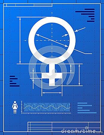 Female symbol like blueprint drawing