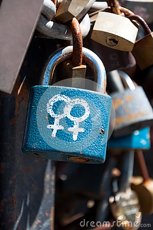 Female symbols on a lock