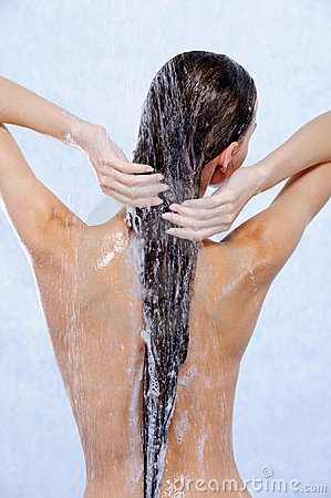 Free Female Taking Shower And Washing Her Hair Royalty Free Stock Photo - 10182955
