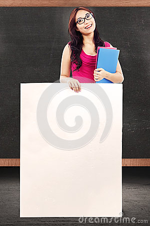Female teacher with copy space