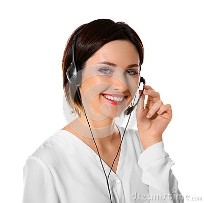 Free Female Technical Support Call Center Dispatcher  On White Background Stock Photo - 105486090