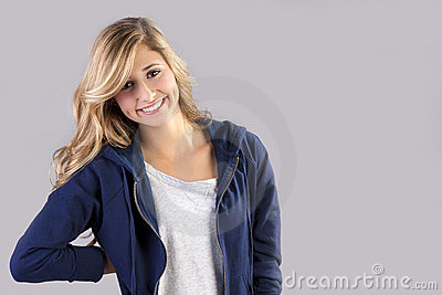 Female teen with blond hair