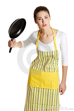 Female teen with a frying pan.