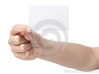 Female teen hand holding blank identity card