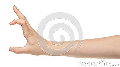 Female teen hand measuring something