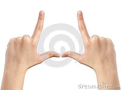 Female teen hands show frame