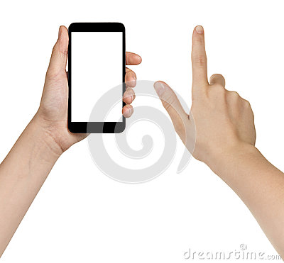 Free Female Teen Hands Using Generic Smarpthone Royalty Free Stock Images - 42605849
