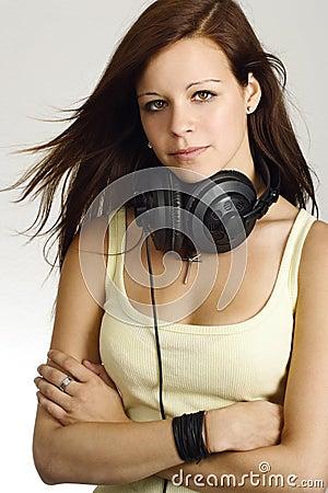 Female teenager with headphones