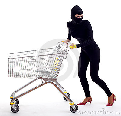 Female thief with shopping cart