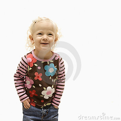 Female toddler laughing.