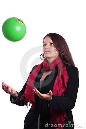 Female tossing a ball