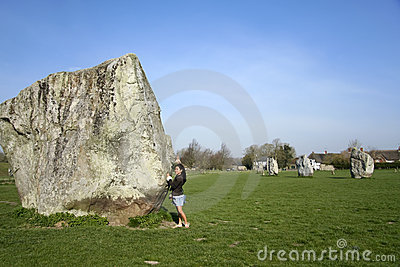 Female tourist avebury ring wiltshire uk